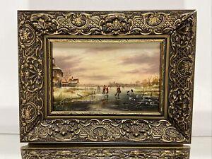 Oil Painting on Panel Dutch Skating Landscape Scene Signed Wood Picture Frame