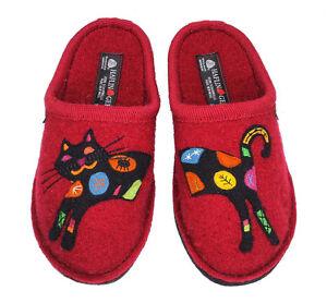 37ba679c374 Image is loading HAFLINGER-Flair-Sassy-Cat-red-black-Wool-Slipper-