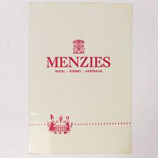 "Vintage Menzies Hotel Sydney Australia Good Morning Dining Card Menu 9.50"" Rare"