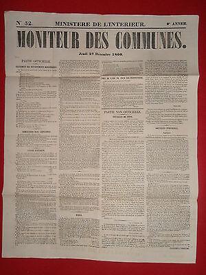 Journal Le Moniteur Des Communes Ministere De L'interieur N°52 27 Decembre 1860 Gemakkelijk Te Repareren