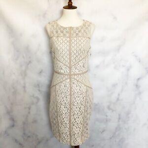 Maggy-London-Womens-NWT-Lace-Sleeveless-Sheath-Dress-Ivory-White-Size-4