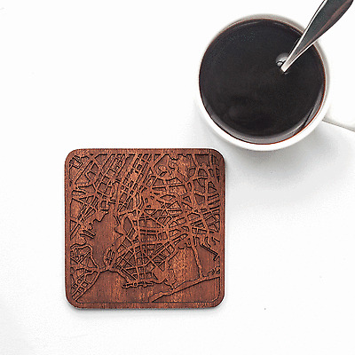 New York map coaster One piece  wooden coaster Multiple city IDEAL GIFTS