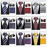 Men Black Gray Yellow Navy Red Neckties Tie &Hanky Cufflinks Handkerchief Set IA