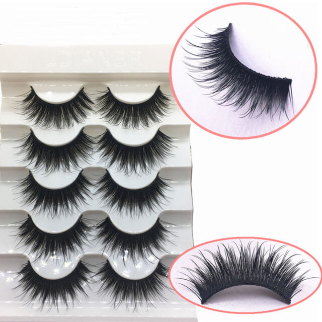5 Pairs 100% Real Mink 3D Volume Corner Thick False Eyelashes Strip Lashes Dw