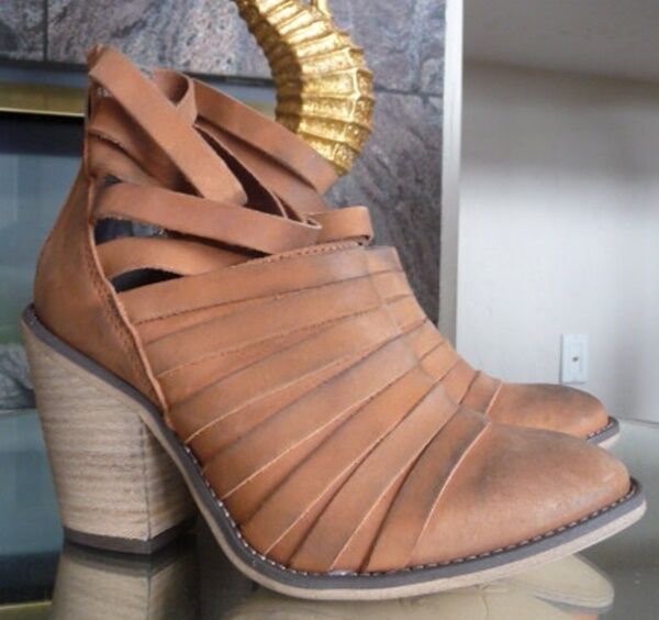 New in box Free People /'Hybrid/' Strappy Leather Bootie Retail $198