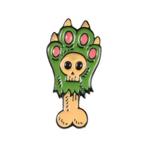 Skull Paw Enamel Pin Purple//Green Dog paw and Bone Brooch Punk Skeleton Claw