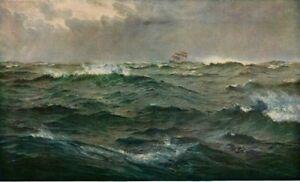 HENRY-MOORE-1874-Oil-Painting-ROUGH-WEATHER-MEDITERRANEAN-1930-Vintage-BookPrint