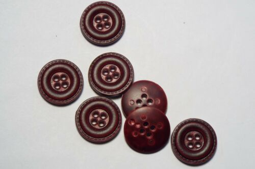 10pc 15mm HOL Dark Red Mock Leather Effect Coat Trouser Cardigan Kid Button 2705