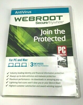 Webroot SecureAnywhere AntiVirus 3 Devices 1 Year Protection #1040