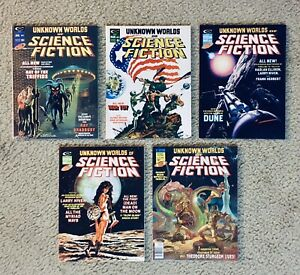 UNKNOWN WORLDS OF SCIENCE FICTION #1-3, 5, & SPECIAL #1, 1975, All NM, 9.4-9.8