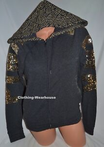 192716647d10a Details about Victoria's Secret PINK Bling Gold Gray Bling Perfect Full Zip  Hoodie Jacket S