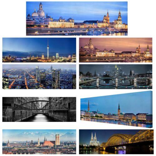 Leinwand-Bild Top Städte Deutschland auf Leinwand Panorama 1:3 Kunstdruck XXL