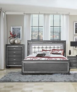 GLITZY GRAY MIRRORED LED LIGHTS QUEEN BED BEDROOM ...