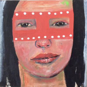 Original Halloween Art Pink Masquerade Mask Painting Katie Jeanne Wood