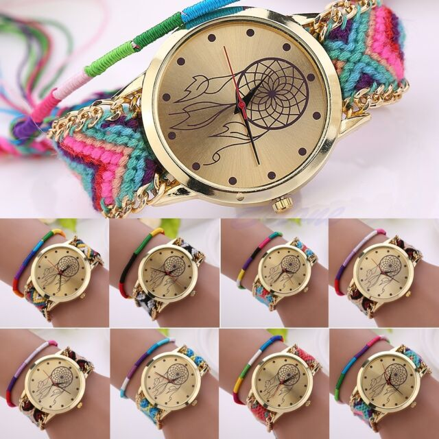 Women Dreamcatcher Pattern Braided Ethnic Quartz Knit Chain Bracelet Wrist Watch