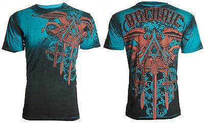 ARCHAIC by AFFLICTION Men T-Shirt DAVENTRY Cross Wings BLUE Tattoo Biker UFC $40