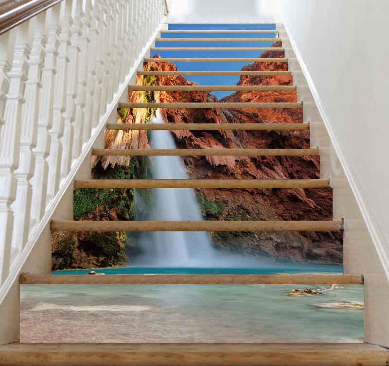3D Wasserfall, See  Stair Risers Dekoration Fototapete Vinyl Aufkleber Tapete DE