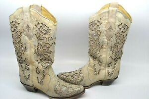 e57313bb14a8 Corral Women 9.5 B Glitter Inlay Leather Cowgirl Western Boot White ...