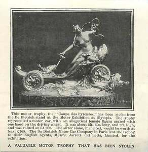1905 Valuable Motor Trophy Stolen At Olympia De Dietrich - Bishop Auckland, United Kingdom, United Kingdom - 1905 Valuable Motor Trophy Stolen At Olympia De Dietrich - Bishop Auckland, United Kingdom, United Kingdom