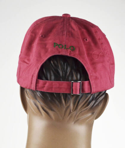 One Size Fits All Ralph Lauren Peach Red Baseball Cap Hat Green Pony NWT