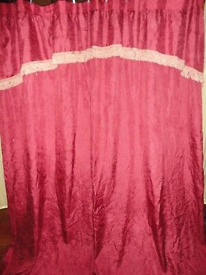 CROSCILL PARFAIT RED DAMASK CREAM FRINGED CRINKLED FABRIC SHOWER CURTAIN 70 X 73