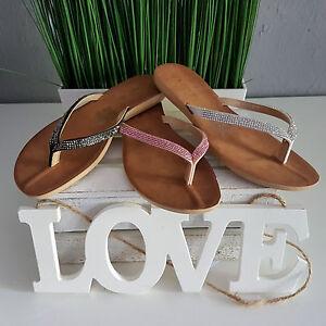 separation shoes cafa9 15473 Details zu Damen Strass Flip Flop Riemen Sandale Sommer Flip Flop Top & Neu
