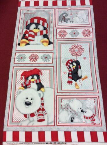 65cm Panel 100/% Soft Cotton Fleece Arctic Antics Panel by Shelly Comiskey