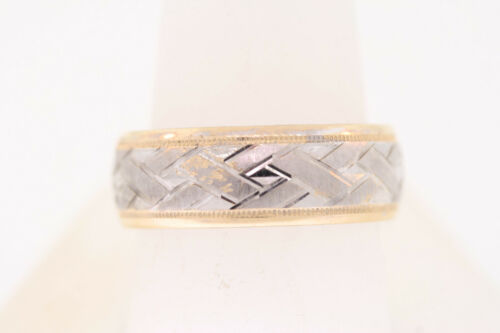 Men's 8mm Sterling Silver & 14k Yellow Gold Woven Ridge Band Ring