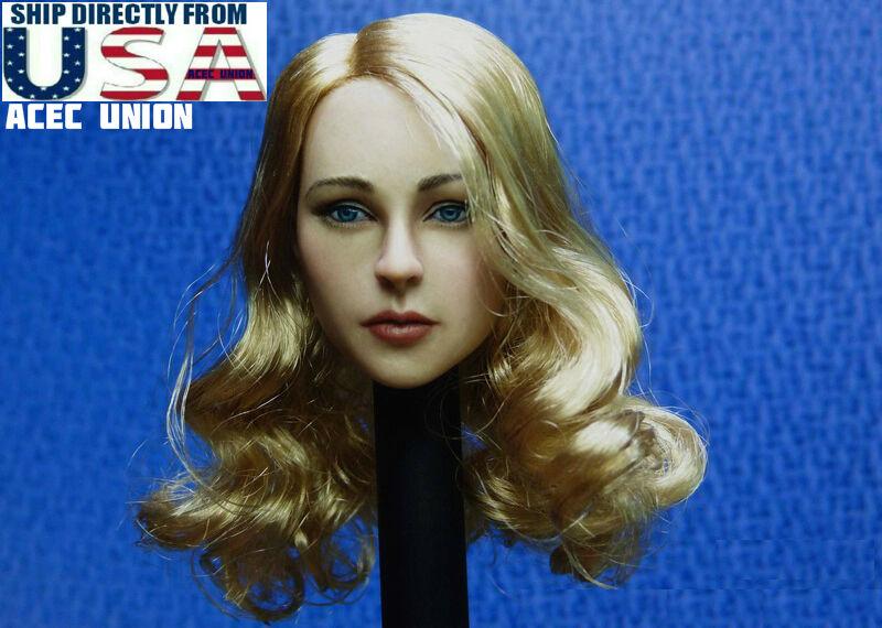1 6 European American Female Head Sculpt Blonde Hair For Hot Toys Phicen U.S.A.