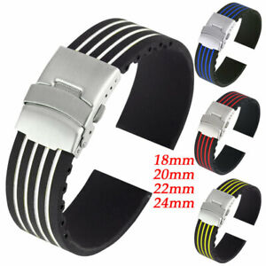 Watch-Strap-Silicone-Rubber-Watch-Band-Replacement-Wrist-Belt-18-20-22-24mm