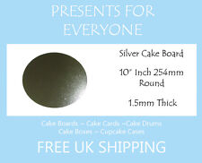 """10 x 10"""" Inch Round Silver Covered Cake Board FREE SHIPPING"""