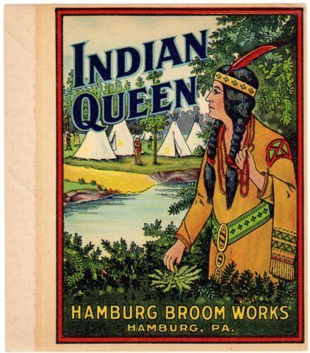 GENUINE BROOM LABEL VINTAGE 1930S SCARCE NATIVE AMERICAN INDIAN QUEEN TEEPEES
