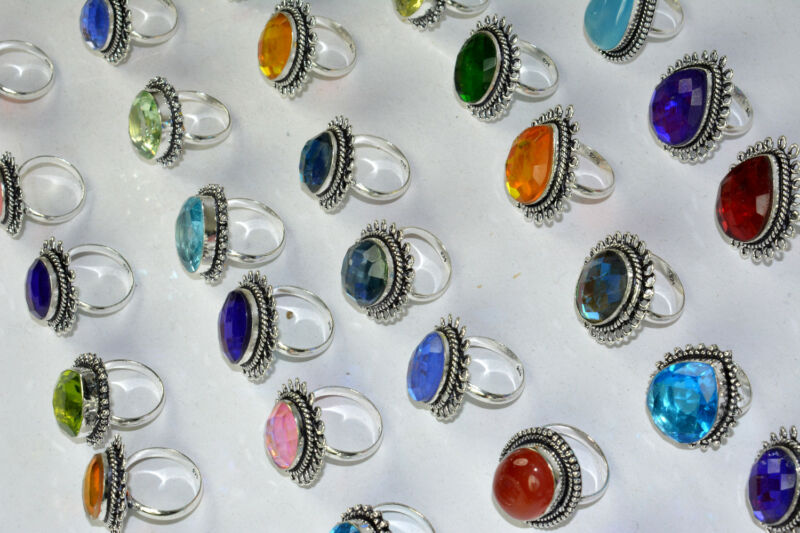 X-mas Gift Onyx & Mix Gemstone Lot 925 Sterling Silver Overlay Rings Lot 150pc