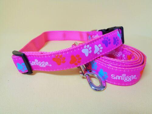 Blue Smiggle Lead and dog Collar leash set paw big medium clip small large