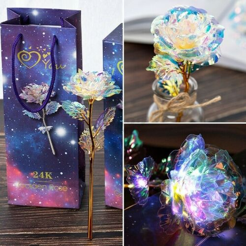 LED Galaxy Foil Rose Flower Valentine/'s Day Gift Romantic Crystal Rose With Box