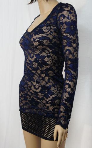 Sheer Floral Lace /& Fishnet Long Sleeve V Neck Mini Dress Gothic Clubwear M-3XL