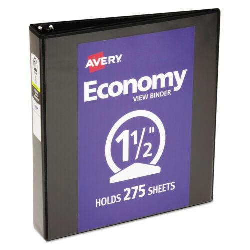 Cap Avery 05725 1-1//2 in New Black Economy View Binder w// Round Rings