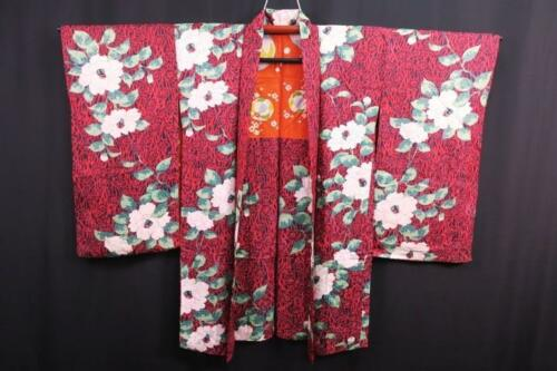 05v4531 Silk Vintage Long Japanese kimono Haori Jacket Flower Rinzu