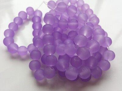 Glasperlen gefrostet 8 mm lila 100 Stück Kugel Schmuck Basteln Perlen G4
