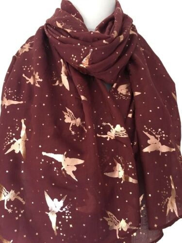 Fairy Scarf Rose Gold Tone Foil Fairies Ladies Burgundy Red Tinkerbell Shawl New