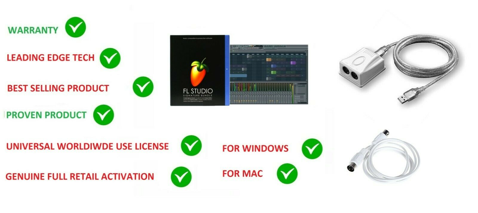 FL STUDIO 20 FRUITY LOOPS SIGNATURE MUSIC SOFTWARE WIN & MAC+MIDI-PLUS INTERFACE
