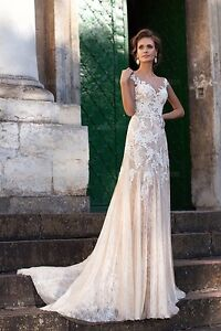 Image Is Loading Vintage Sheath Column Wedding Dress Jewel Court Train