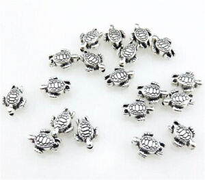 Wholesale-50pcs-Retro-Silver-Two-Sided-Nice-sea-turtle-Spacer-Beads-DIY-Crafts