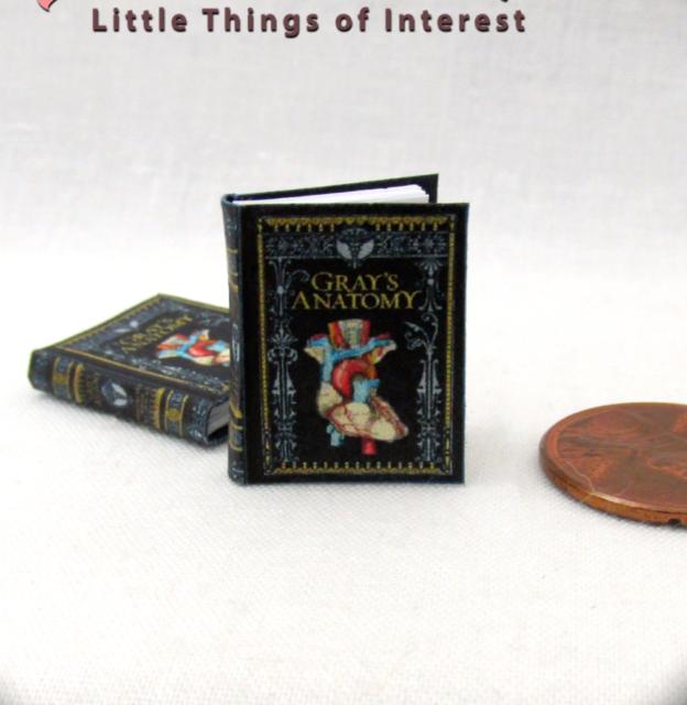 "Miniature dollhouse  1//12 scale 1/""  Medical Book Gray/'s Anatomy Textbook Blue 2"