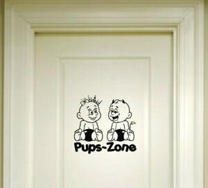 Pups-Zone-Aufkleber-20x21cm-Pupszone-P1-Wandtattoo-fuer-WC-Bad-Toilette-Tuer