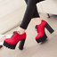 Women-039-s-Platform-High-Chunky-Heels-Pumps-Lace-Up-Casual-Shoes-Boots-PU-Leather thumbnail 1