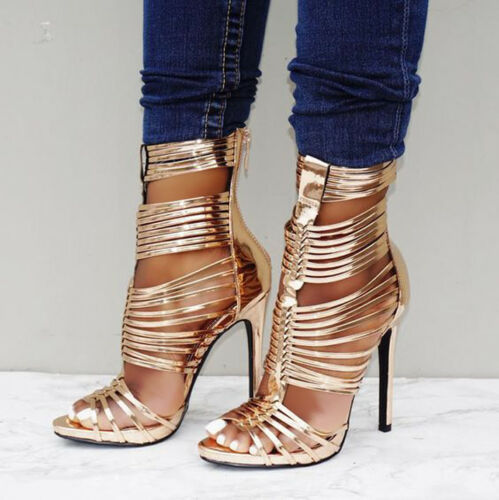 Rose Gold Strappy Open Toe Gladiator Bootie Heels US 5.5-11