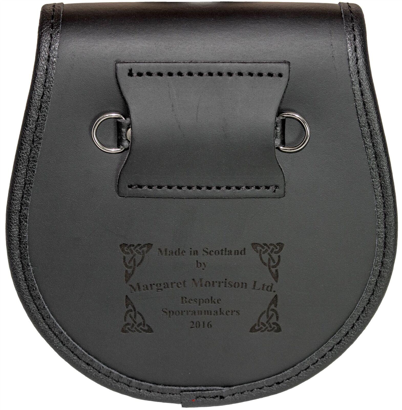 Ainslie Semi Dress Sporran Fur Plain Leather Flap Scottish Clan Crest