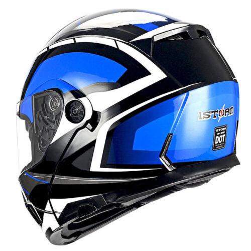 1Storm Motorcycle Modular Full Face Helmet Flip up Dual Visor Sun Racing Series