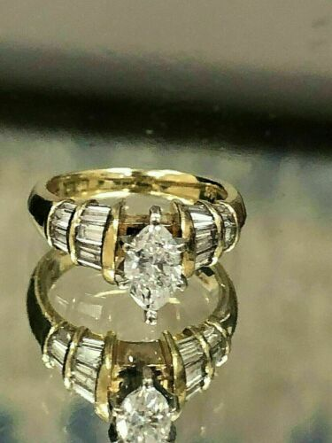 Details about  /1.50Ct Marquise /& Baguette Cut Diamond Engagement Ring 14k Yellow Gold Finish